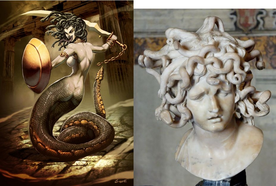 medusa athena When medusa had an affair with the sea god poseidon, athena punished hershe turned medusa into a hideous hag, making her hair into writhing snakes and her skin was turned a greenish hue.